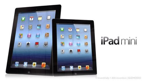 iPad mini はこんなカンジ。iPadとの比較画像。